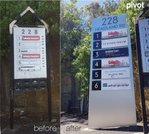 pylon sign before and after